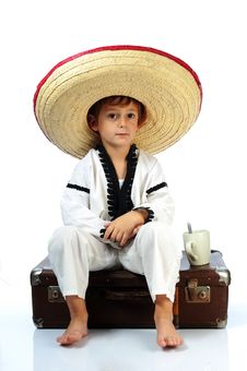 Boy With  Sombrero Royalty Free Stock Images