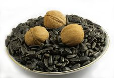 Free Walnuts And Sunflower Seeds Stock Image - 17708101