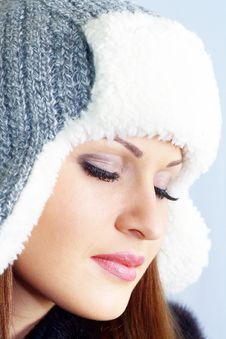 Beautiful Girl In Gray Hat Stock Photo