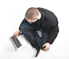 Free Young Businessman In Suit Sitting On The Floor Stock Photos - 17708833