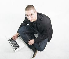 Free Young Businessman In Suit Sitting On The Floor Royalty Free Stock Photos - 17708838