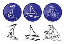 Free Sailing Ships. Vector Graphics Icons Set. Stock Images - 17709214