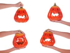 Free Halloween Pumpkin In A Female Hand, Isolated Stock Photography - 17709312