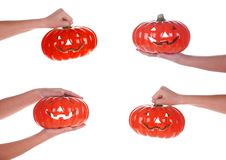 Free Halloween Pumpkin In A Female Hand, Isolated Stock Photography - 17709342