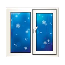 Free Window On A Winter Background. Stock Image - 17709351
