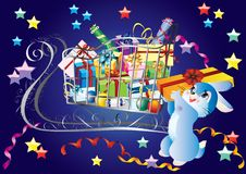 Sleigh With Gifts And A Rabbit. Royalty Free Stock Images