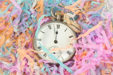 Free Pocket Watch With Party Streamers Royalty Free Stock Image - 17709426