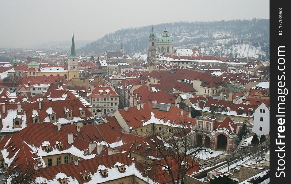 The roofscape of Prague