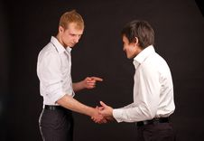 Free Two Adult Man In Business Hand Shake On Black Back Royalty Free Stock Photography - 17710007