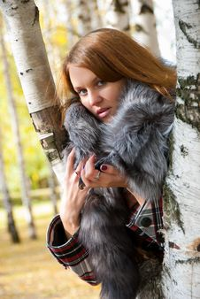 Free Portrait Of A Girl With A Fur Collar Stock Photography - 17711332