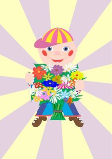 Free Boy With Flowers Royalty Free Stock Photos - 17711698