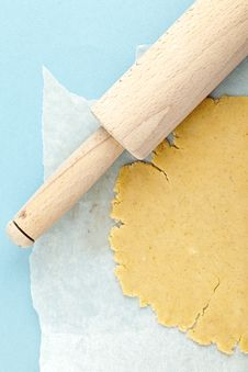 Close Up Of Dough With Rolling Pin Stock Image