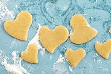 Free Making Heart Shaped Shortbread Cookies With Cutter Stock Photography - 17712152