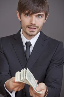Free Man With Bunch Of Dollars Royalty Free Stock Photos - 17712528