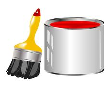 Free Red Paint And Tassel Royalty Free Stock Photography - 17712967