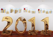 Free Happy New Year 2011 From The Gold Water Royalty Free Stock Photo - 17713555
