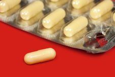 Yellow Pills In Blister Pack Stock Photography