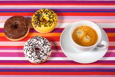 Free Donuts With Cup Of Coffee Royalty Free Stock Image - 17714586