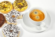 Free Donuts With Cup Of Coffee Royalty Free Stock Photo - 17714595