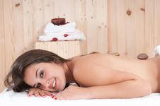 Pretty Woman In A Massage Center With Towel Stock Image
