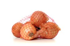 Free Onions In A Net Isolated On White Royalty Free Stock Photo - 17716595