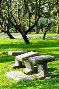 Free Stone Chairs Standing On The Garden Royalty Free Stock Photography - 17717157
