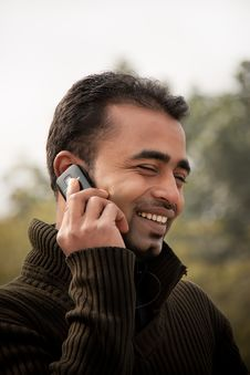 Free Indian Man Busy On Cell Phone Stock Images - 17717284