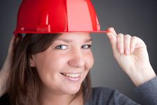 Young Architect Women Wearing Red Hardhat Royalty Free Stock Image
