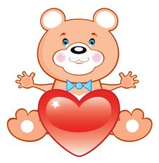 Free Bear Toy With Heart Royalty Free Stock Photo - 17717815
