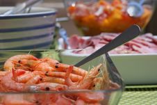 Free Fresh Seafood, Meat And Salad Lunch Stock Image - 17718481
