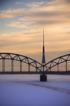 Bridge Over River Daugava Stock Images