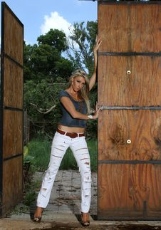 Free Blonde Lady Leaning Against Stable Doors Royalty Free Stock Photography - 17719217