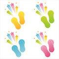 Free Set Of 4 Flip Flops Royalty Free Stock Photo - 17724205