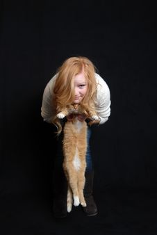 Free Cat And Woman Royalty Free Stock Photos - 17720068