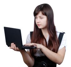 Free The Woman With The Laptop Royalty Free Stock Photo - 17720685