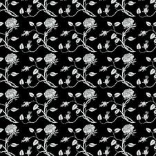 Free Black And White Roses Repeat Seamless Pattern Stock Photos - 17721583