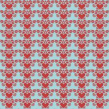 Free Blue And Red Folk Art Heart Repeat Pattern Stock Photography - 17721592