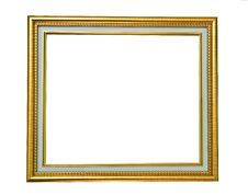 Isolated Golden Wooden Photo Frame Stock Photography