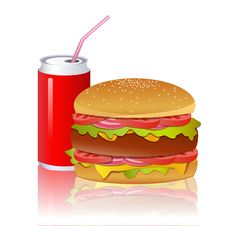 Free Burger With Cold Drink Royalty Free Stock Image - 17721706