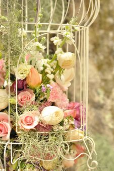 Colorful Flower Decorated In Cage Stock Photos