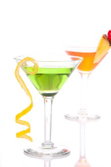 Green Red Cocktails Composition Stock Photo