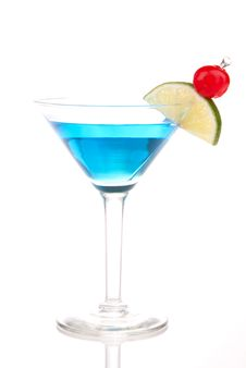 Blue Martini Cocktail Stock Photography