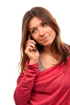 Free Woman Talking On The New Cell Phone Royalty Free Stock Photo - 17723435