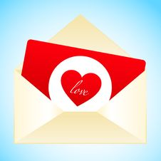 Free Simple Red Love Card With Envelope Stock Image - 17724171