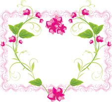 Floral Heart In The Frame Royalty Free Stock Image