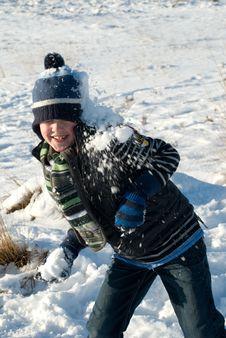 Little Boy Having Fun In Snow Royalty Free Stock Photo