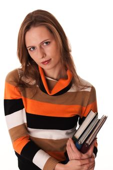Free Young Woman Ready For Class Holding Books Stock Photos - 17725333
