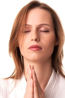 Free Young Woman Sitting With Pray Gesture Royalty Free Stock Images - 17725419