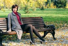 Free Girl In The Park On A Bench Royalty Free Stock Image - 17726716