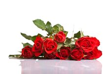 Free Red Roses On White Isolated Background Stock Images - 17727114